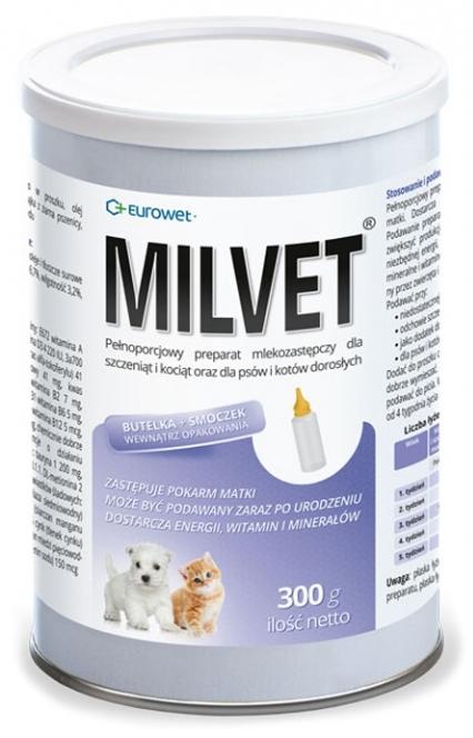 Eurowet Milvet Preparat mlekozastępczy  dla szczeniąt i kociąt 300g