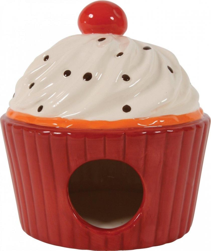 Zdjęcie Zolux Domek ceramiczny Ciastko z Wisienką dla gryzoni  czerwony 11,5x11,5x15 cm
