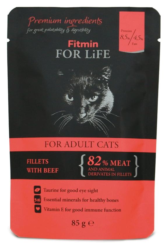 Zdjęcie Fitmin For Life saszetka dla dorosłych kotów  filety z wołowiną 85g