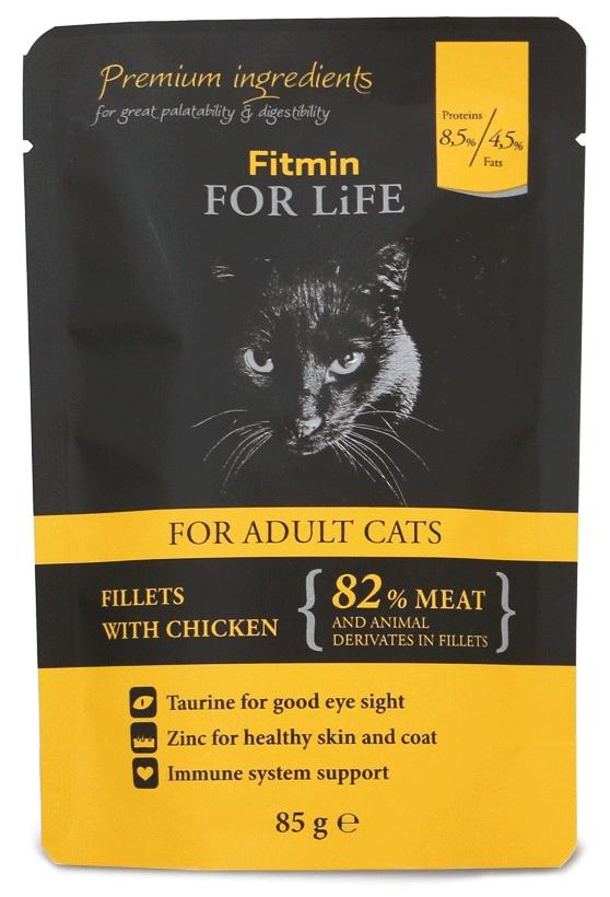 Zdjęcie Fitmin For Life saszetka dla dorosłych kotów  filety z kurczakiem 85g