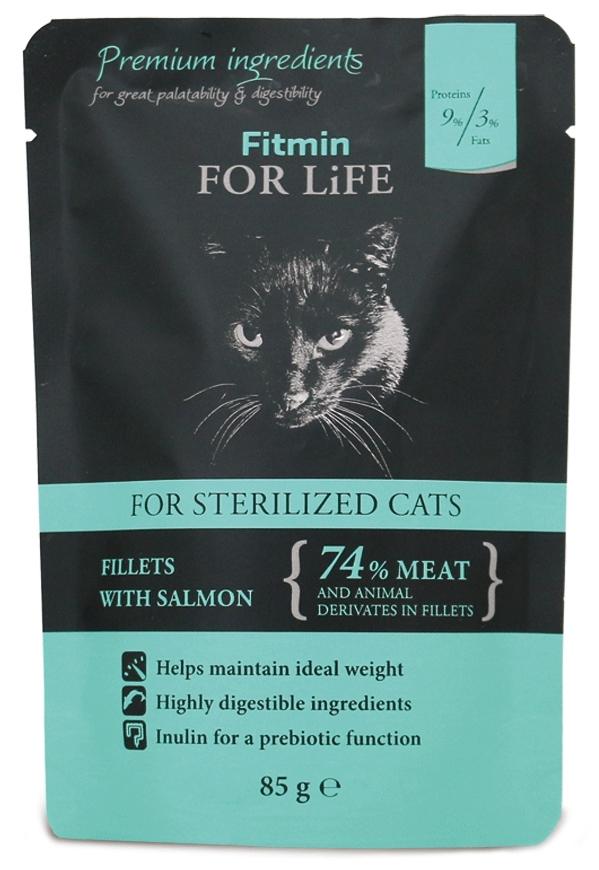 Zdjęcie Fitmin For Life Sterilised saszetka dla kotów kastrowanych filety z łososiem 85g