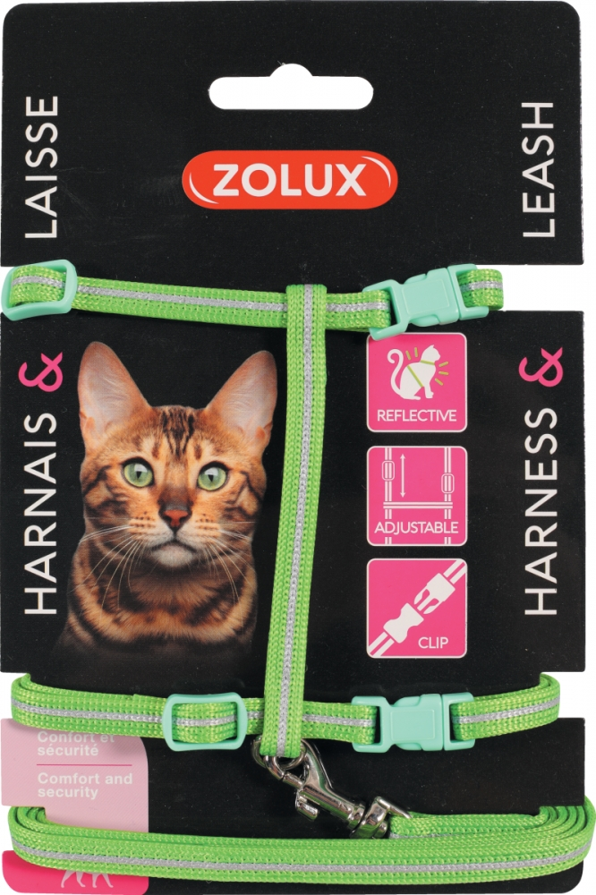 Zdjęcie Zolux Zestaw spacerowy dla kota szelki i smycz odblaskowe zielony 25–40 cm/7 mm