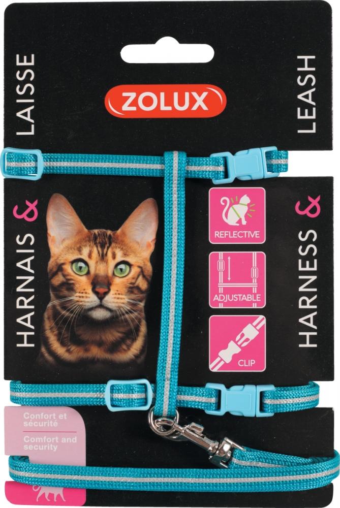 Zdjęcie Zolux Zestaw spacerowy dla kota szelki i smycz odblaskowe niebieski 25–40 cm/7 mm