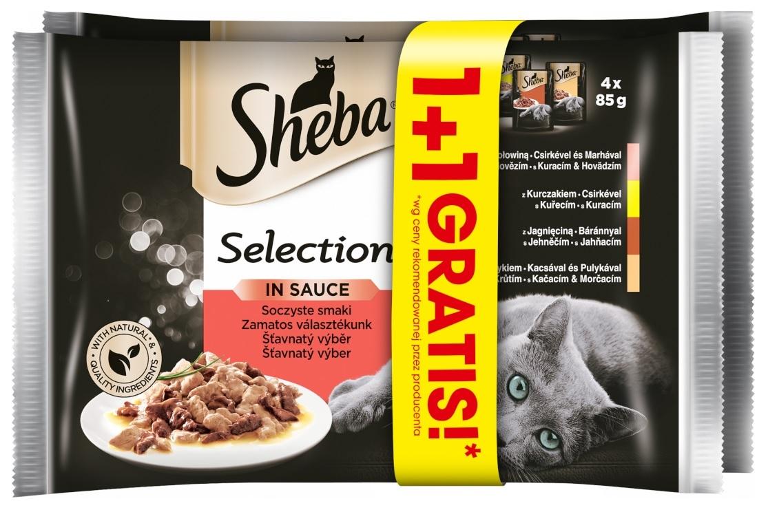 Zdjęcie Sheba Czteropak saszetek Selection in Sauce w sosie soczyste smaki 1+1 GRATIS! 4 x 85g+4 x 85g