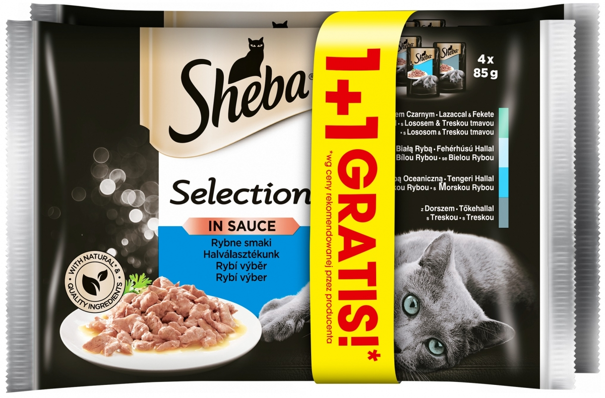 Zdjęcie Sheba Czteropak saszetek Selection in Sauce w sosie rybny 1+1 GRATIS! 4 x 85g+4 x 85g