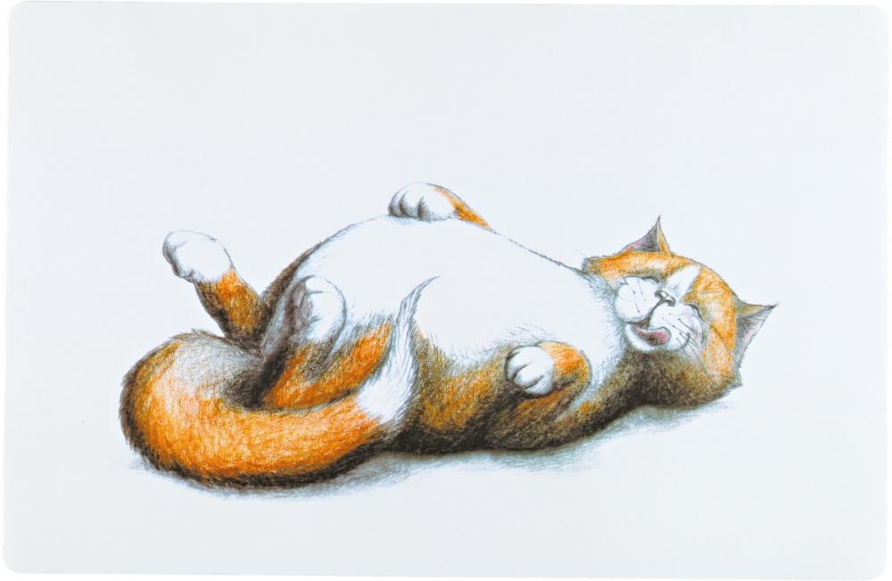 Trixie Podkładka pod miski najedzony kotek biało-rudy 44 x 28 cm