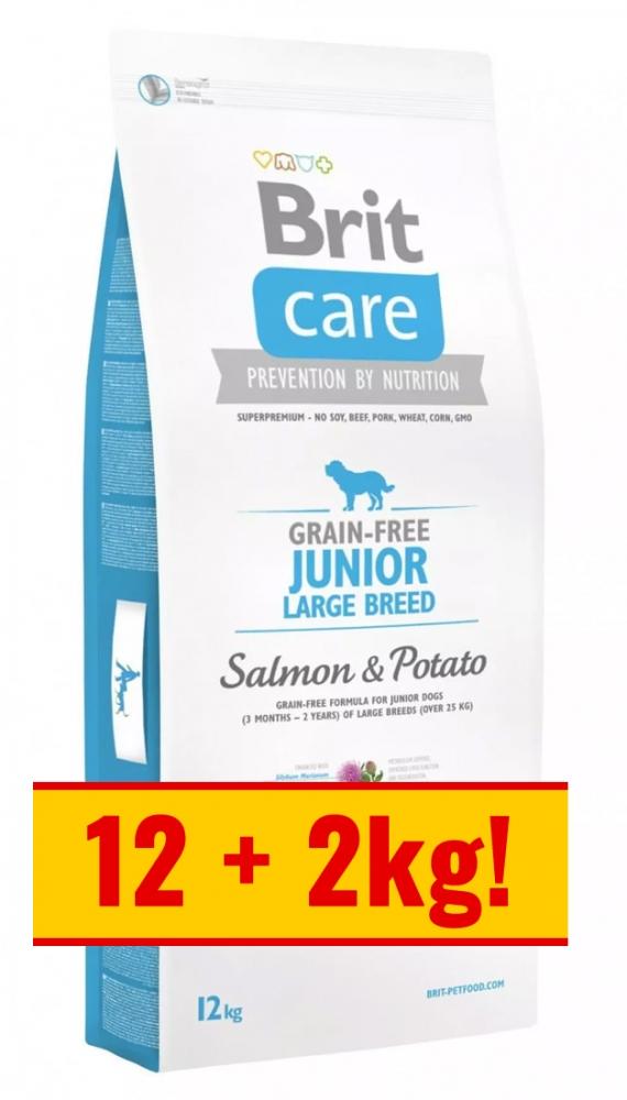Zdjęcie Brit Care New Junior Large Breeds  salmon & potato 12+2kg GRATIS
