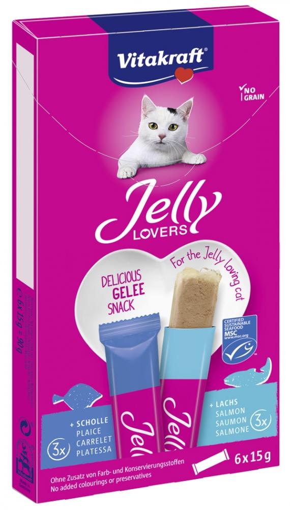 Zdjęcie Vitakraft Jelly Lovers galaretki dla kota  flądra i łosoś 6 x 15g