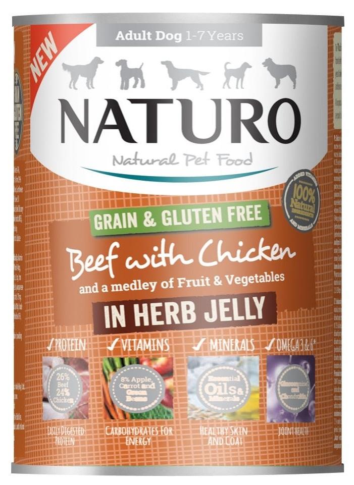 Zdjęcie Naturo Adult Dog puszka dla psa Grain Free  wołowina i kurczak w ziołowej galarecie 390g