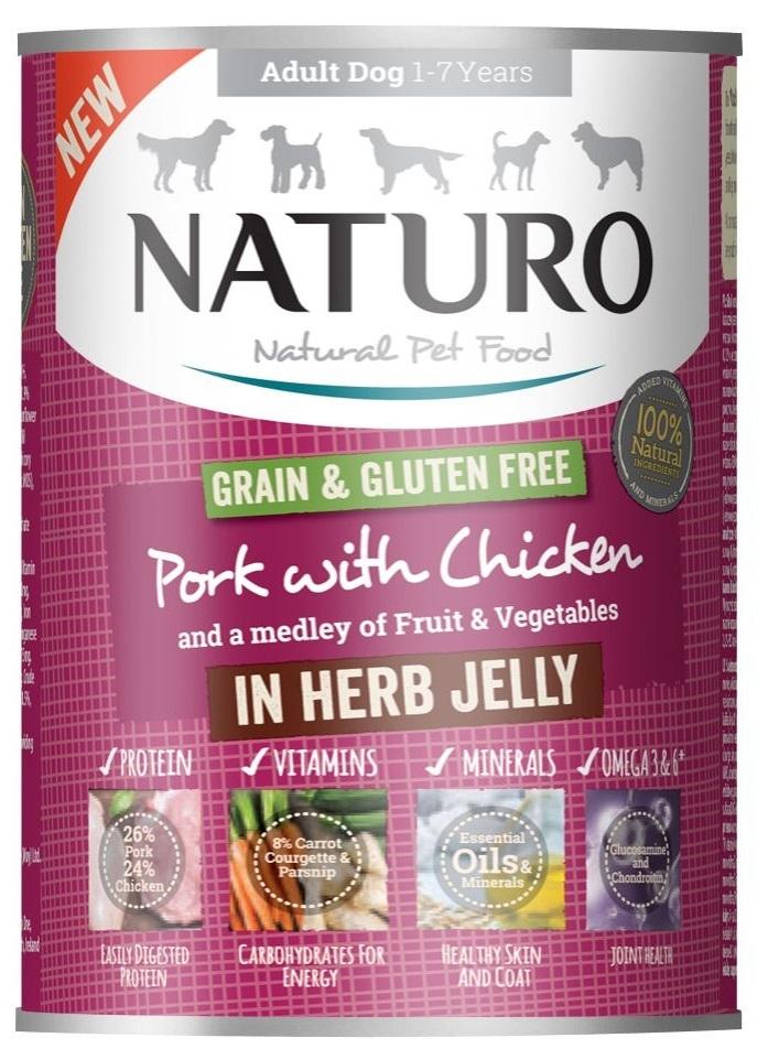 Zdjęcie Naturo Adult Dog puszka dla psa Grain Free  wieprzowina i kurczak w ziołowej galarecie 390g
