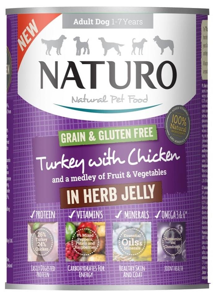 Zdjęcie Naturo Adult Dog puszka dla psa Grain Free  indyk i kurczak w ziołowej galarecie 390g