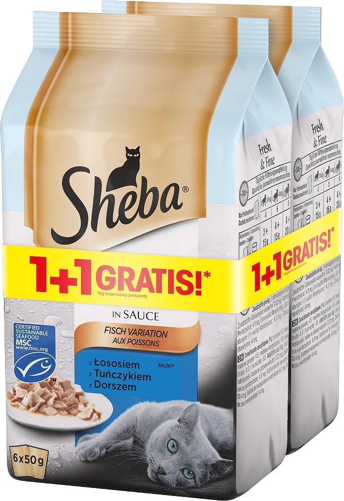 Zdjęcie Sheba PROMOCJA: Fresh & Fine 6-pak saszetek w sosie łosoś, tuńczyk, dorsz 1+1 GRATIS! 6x50g