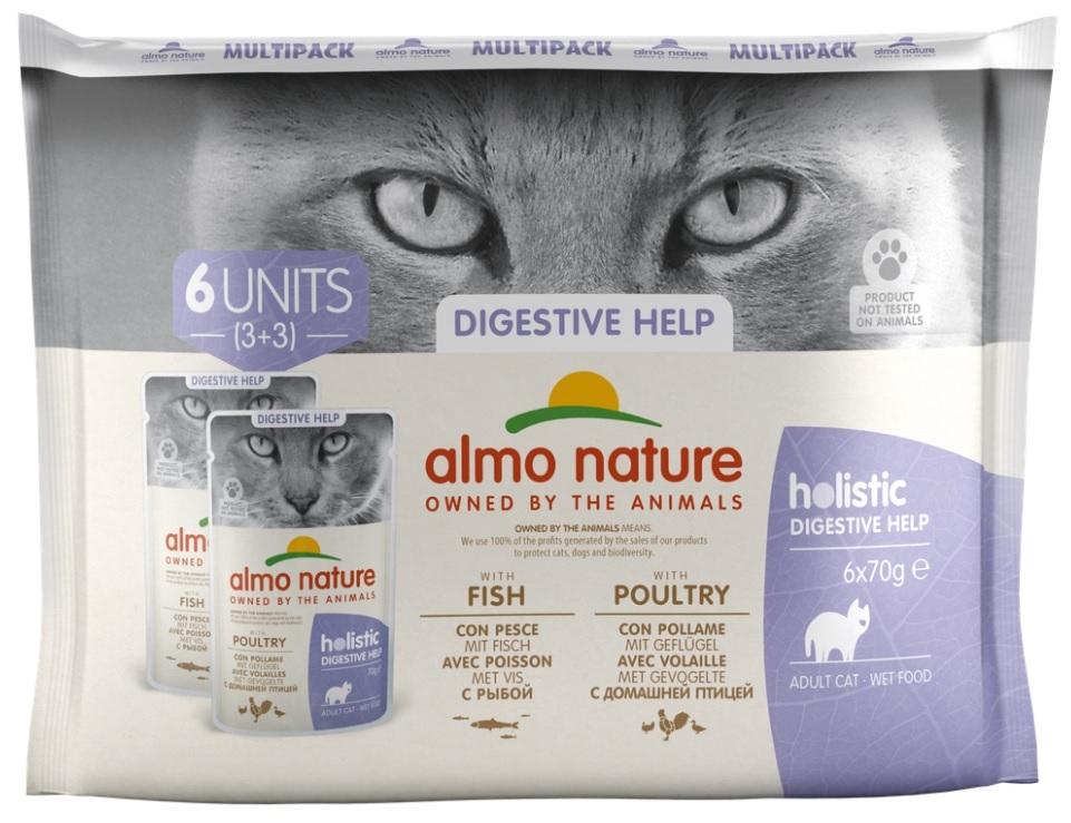Zdjęcie Almo Nature Holistic Digestive Help 3+3 multipak saszetek z rybą, z drobiem 6x70g