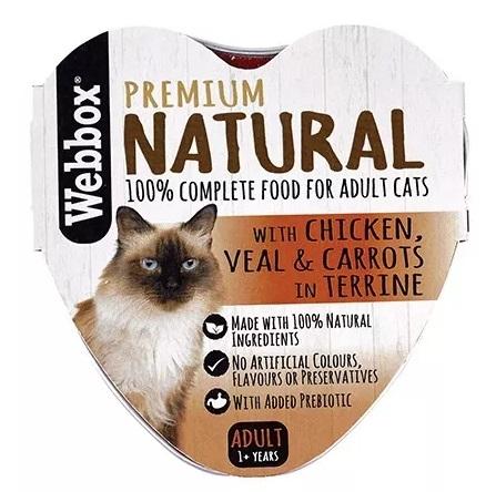 Zdjęcie Webbox Premium Natural tacka dla kota   z kurczakiem, cielęciną i marchewką w pasztecie 85g