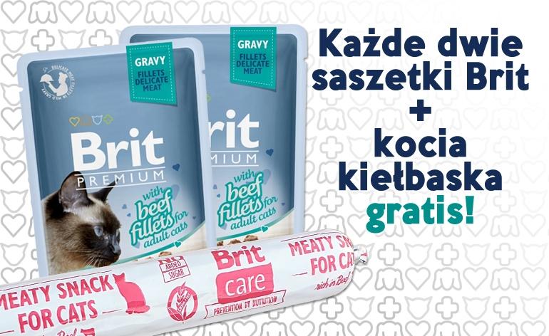 Zdjęcie Brit PAKIET: 2x Premium Cat Adult saszetka + kiełbaska Meaty Sausage GRATIS z filetem z wołowiny w sosie 2x85g + 80g