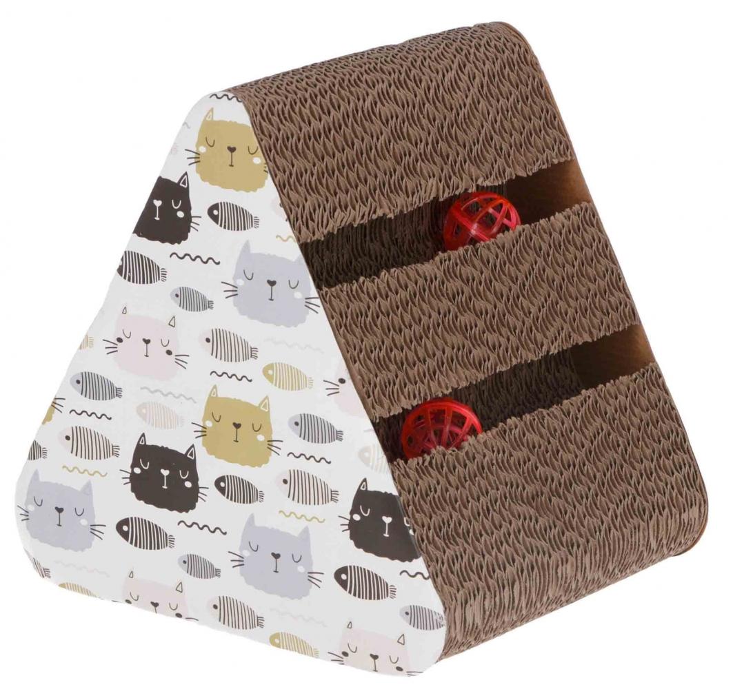 Zdjęcie Kerbl Trójkątny drapak Boon z tektury dla kota  z piłeczkami 22 x 26 x 26 cm
